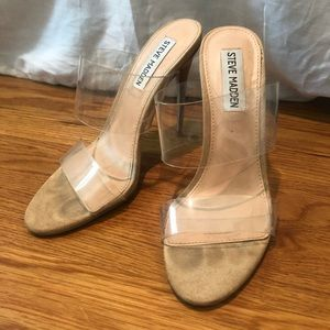 Steve Madden Tan Charlee Clear Heel Pump Sandals
